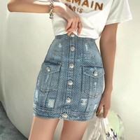"""Balmai"" Woman's Leisure  Fashion Diamond Bodycon Buttons Denim High Waist Skirt"