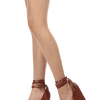 Tan Faux Leather Wrap Around Wedges