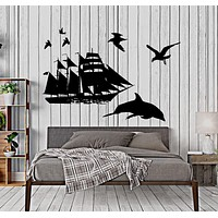 Wall Vinyl Decal Dolphin Yacht Ship Ocean Marine Sea Home Interior Decor Unique Gift z4394