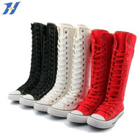 PUNK EMO Canvas Boots Sneaker Women Flat Girl's Shoes Zip Knee High Lace UP Boots Big Size increased within the Botas Mujer Punk
