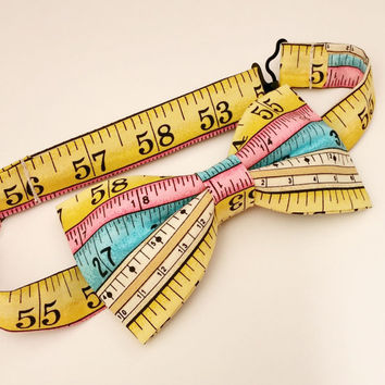 Tape Measure Bow Tie • Pre-Tied Bow Tie • Gifts For Guys• Geekery Mens Fashion • Crafter's Gifts • Novelty Bow Tie • Ruler Bowtie • DIY Gift