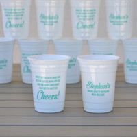 Bachelorette party cups   Reusable solo cup with friendship toast   Customizable to your event and color choice   Group party favors