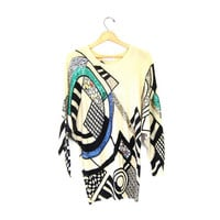 Slouchy Abstract Sweater. Geometric 80s Avant Garde Wool Tunic Top Dress. SEQUINS BEADED sweater. Artsy Boho Batwing Sweater. Small Medium