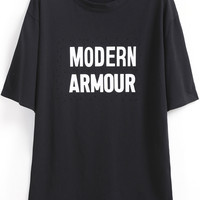 Modern Armour Graphic Print With Cut-Out T-Shirt