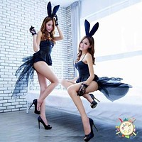 New Sexy Adult Black Rabbit Bunny Halloween Party Cosplay Costume Teddy Fancy Dress Macchar Cosplay Catalogue