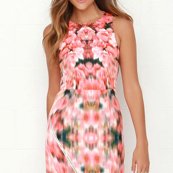 Finders Keepers Way to Go Coral Red Floral Print Dress
