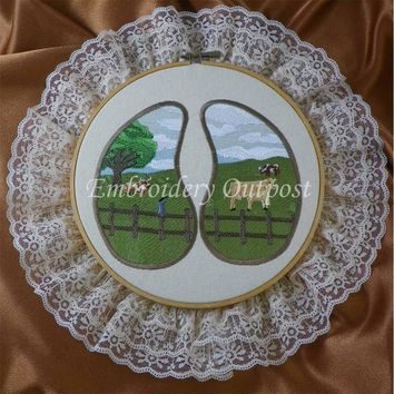 Cow Track Farm Pasture Scene - Embroidery Hoop Wall Art