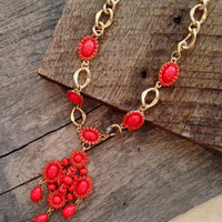 Causal Coral Statement Necklace