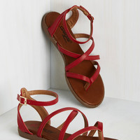 Ms. Bright-Stride Sandal in Red | Mod Retro Vintage Sandals | ModCloth.com