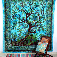 Indian Tree of Life Wall Hanging Hippie Tapestry Bedspread Cover Throw Boho Bohemian Coverlet Twin Ethnic Decor