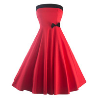 Woman Sexy Boob Tube Top Dress Big Peplum   red   S