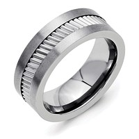 Stainless Steel Base with Sawtooth Accent 8mm Polished Flat Band