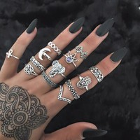 13 Pcs Retro Bergamot Elephant Flower Mid Finger Knuckle Ring Set Women Fashion Jewelry