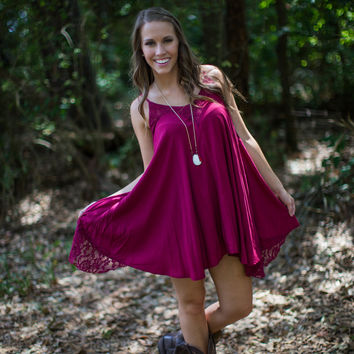 Gameday Lace Sundress in Wine