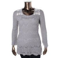 Style & Co. Womens Knit Embroidered Pullover Sweater