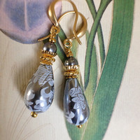Classic grey etched lucite lustre drop earrings