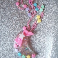 On Secret Wings | Candy Galaxy - Glitter Moon and Rainbow Stars Necklace | Online Store Powered by Storenvy