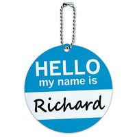 Richard Hello My Name Is Round ID Card Luggage Tag