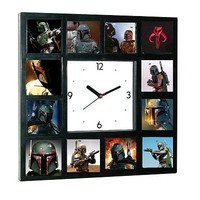 Star Wars faces of Boba Fett Clock with 12 pictures