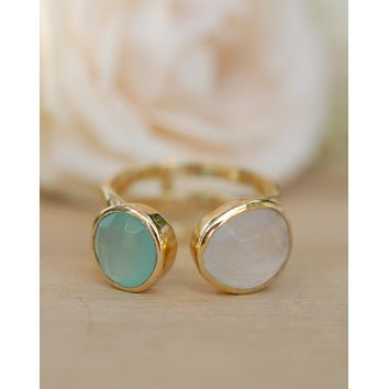 Isa Ring * Aqua Chalcedony and Moonstone * Gold Plated 18k * BJR088