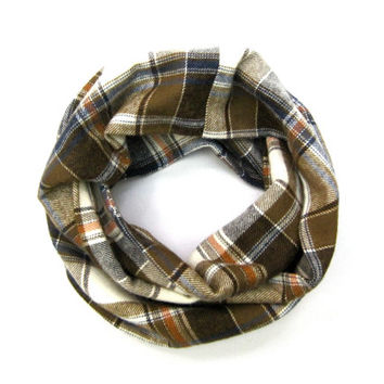 Boys Flannel Scarf Toddler Scarf Plaid Scarf Girl Scarf Kid Scarf Childs Winter Scarf Brown Cream Tangerine Ready to Ship