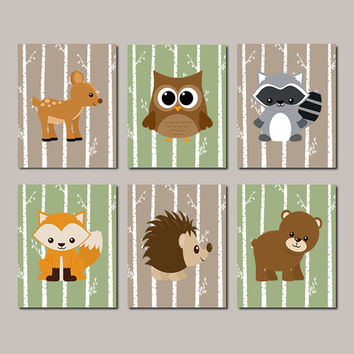 WOODLAND Nursery, Woodland Animals WALL ART Woodland Nursery Decor Boy Nursery Decor Forest Birch Tree Birch Tree Set of 6 Prints Or Canvas
