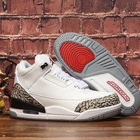 Air Jordan 3 Retro White Cement Toddler Kid Shoes Child Sneakers - Best Deal Online