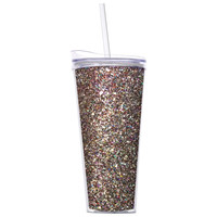 Multi-Color Glitter Tumbler with Straw