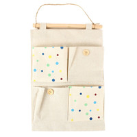 Blue Dot Linen Wall Organizer
