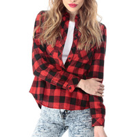 Plaid Long Sleeve Button Up Blouse