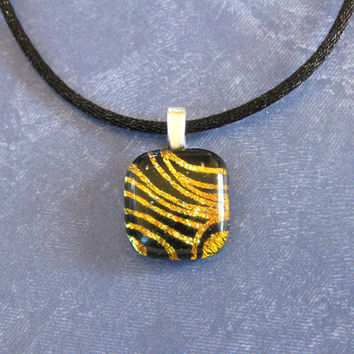 Golden Orange Pendant, Small Dichroic Necklace, Christmas Jewelry, Ready to Ship - Evelynn - 4576 -3