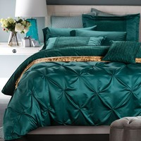 SunnyRain 6-Pieces Cotton Imitated Silk Luxury Bedding Set Pinch Pleat Bed Set King Queen Bed Linens Duvet Cover Bed Sheet