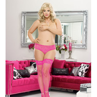 Stay Up Fishnet Thigh Highs W-back Seam (black Light) Hot Pink Qn