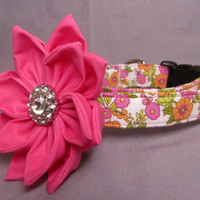 Designer Dog Collar and Flower CUSTOM Floral Print Fabric in Pink and Orange with Hot Pink Flower - cute dog collar, matching leash