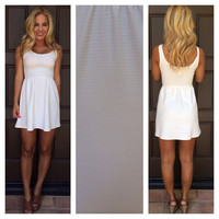 White Texture Let's Play Babydoll Dress