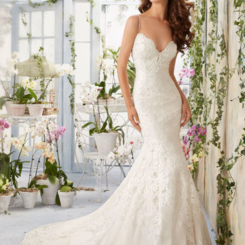 Lace Contoured Net with Appliques and Crystal Beading Morilee Bridal Wedding Dress   Style 5415   Morilee