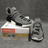 Best Online Sale Pharrell Williams x Adidas Consortium NMD Human Race Grey Sport Running Shoes Classic Casual Shoes Sneakers