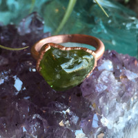 Raw Peridot Copper Ring Size 7.75