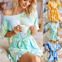 2020 summer knitted bandage  jumpsuit tie-dye fresh color waist bow dress romper mint green