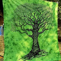 Green Tree of Life Boho Wall Bed Bohemian Tapestry