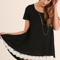 Lace Trim Black Tunic