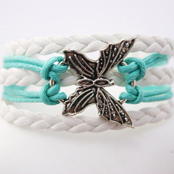 5 Strand Mint Blue and White ButterflyFaux Leather Braid Cord Bracelet (Adjustable Sizing)