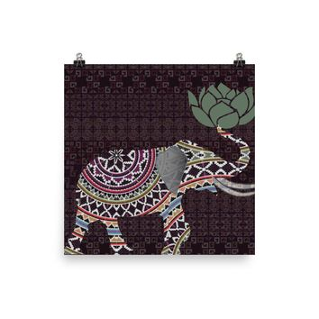 Reiki Charged Elephant Tapestry Poster Burgundy Indian With Lotus Flower