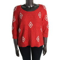 Lucky Brand Womens Plus Pattern Ribbed Trim Pullover Sweater