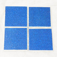 Glam Tile Coasters  in All Blue No-Shed Glitter Theme with Foamed Backs (4)