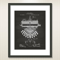 Type Writing Machine 1897 Patent Art Illustration - Drawing - Printable INSTANT DOWNLOAD - Get 5 Colors Background