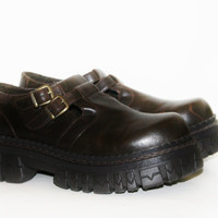 90s Platform chunky Boots Shoes Brown vegan leather mary janes Cyber Goth Punk soft Grunge Club Kid lolita cosplay Festival rave hipster  8