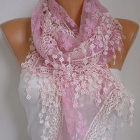 ON SALE - Pink Lace Scarf - Shawl Scarf Cowl Scarf   Lace Edge  Gift Bridesmaid Gift fatwoman