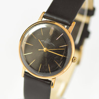 Ultra slim men's watch Ray black face gold plated AU 20 watch classic gent's wristwatch gift him premium leather strap new