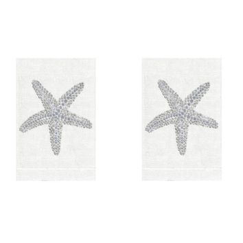 Silver Starfish Linen Guest Towels by Anali (Set of 2)